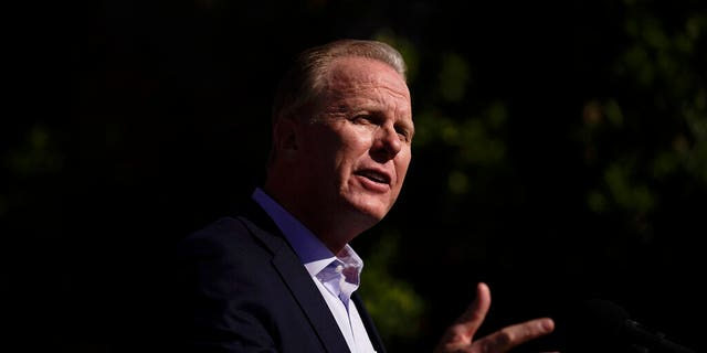 In this Feb. 2, 2021 file photo former San Diego Mayor Kevin Faulconer speaks during a news conference in the San Pedro section of Los Angeles. (AP Photo/Jae C. Hong,File)