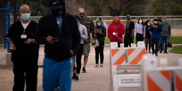 People wait in line to get their COVID-19 vaccine at a vaccination site set up in a park in the Lincoln Heights neighborhood of Los Angeles, Tuesday, Feb. 9, 2021. (AP Photo/Jae C. Hong)