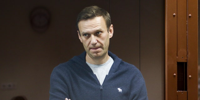 In this photo taken on Friday, Feb. 12, 2021, and provided by the Babuskinsky District Court, Russian opposition leader Alexei Navalny stands in a cage during a hearing on charges of defamation in the Babuskinsky District Court in Moscow, Russia. (Babuskinsky District Court Press Service via AP)