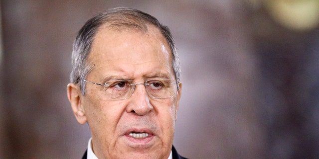 In this photo released by the Russian Foreign Ministry Press Service, Russian Foreign Minister Sergey Lavrov speaks during a meeting in Moscow, Russia, Wednesday, Feb. 10, 2021. (Russian Foreign Ministry Press Service via AP)