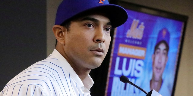 FILE - In this Jan. 24, 2020, file photo, New York Mets new manager Luis Rojas speaks during a baseball news conference after his introduction in New York.
