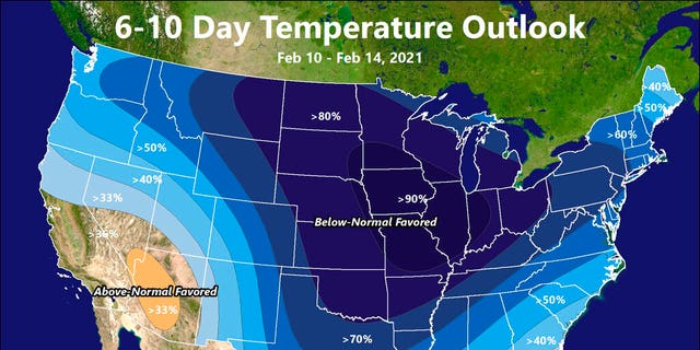 This illustration made available by the National Weather Service on Thursday, Feb.. 4, 2021 shows a Feb. 10-14 forecast for below-normal temperatures for large parts of the United States. The mid-February killer freeze was no surprise and yet catastrophe happened. Meteorologists, government and private, saw it coming, some nearly three weeks in advance. They started sounding warnings two weeks in advance. They talked to officials. They tweeted and used other social media and were downright blunt. (National Weather Service via AP)