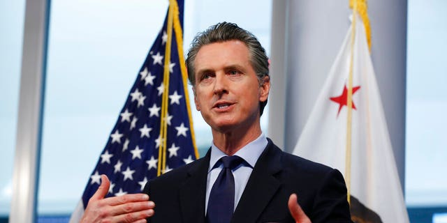 FILE: California Gov. Gavin Newsom gives his coronavirus update at the Governor's Office of Emergency Services in Rancho Cordova, Calif. (AP)