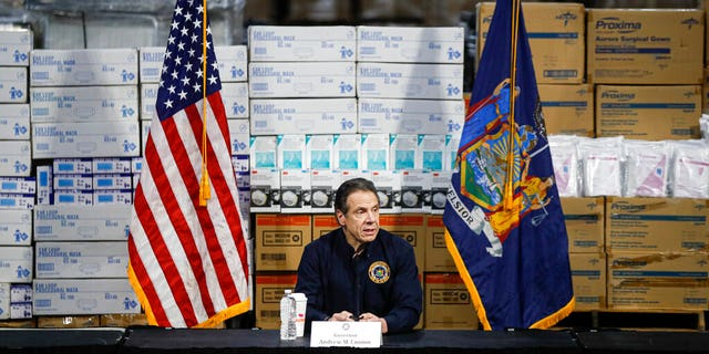 Document: In a speech by Governor Andrew Cuomo at the press conference, the medical supplies background of the Jacob Javits Center will set up a temporary hospital in response to the COVID-19 outbreak in New York.