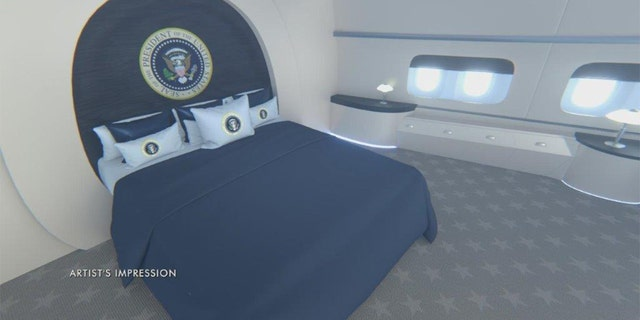 Artist's impression of presidential bedroom in the new Air Force Force. (National Geographic)