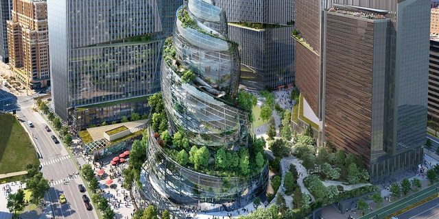 The tech giant released illustrated renderings of the next phase of its headquarters redevelopment in Virginia, sharing shots of the helix-shaped structure called PenPlace.