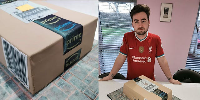 Kane Evans poses with his extra-special delivery: an Amazon-inspired birthday cake.