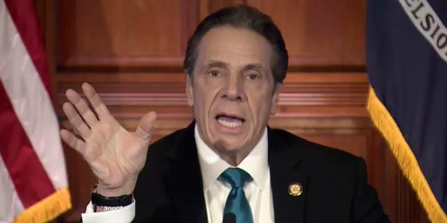 In this image taken from video, New York Gov. Andrew Cuomo speaks during a news conference Friday, Feb. 19, 2021, in Albany, N.Y. (Office of the Governor of New York via AP)
