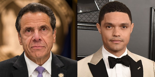 Trevor Noah (right) slammed New York Gov. Andrew Cuomo over his administration's handling of the data surrounding COVID-19 in nursing homes.
