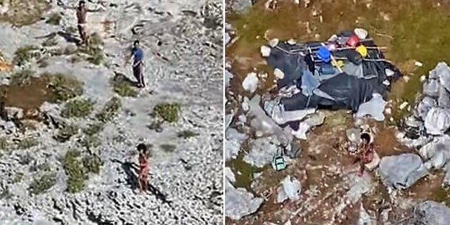 These photos show three Cuban nationals being rescued from a deserted island between Florida and Cuba on Monday.