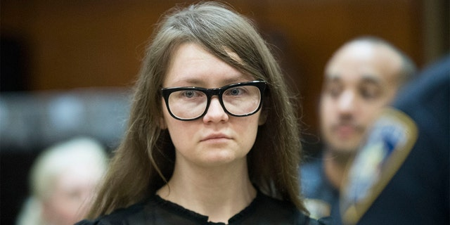 FILE - In this April 25, 2019, file photo, Anna Sorokin, who claimed to be a German heiress, returns to the courtroom during her trial on grand larceny and theft of services charges in New York. (AP Photo/Mary Altaffer, File)