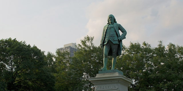 A general view of The Benjamin Franklin Monument at Lincoln Park on July 18, 2014, in Chicago. (Jeff Schear/Getty Images)