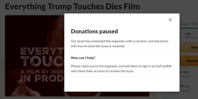 GoFundMe Fox News screenshot