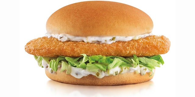 The Carl's Jr. Beer-Battered Fish Sandwich, pictured.