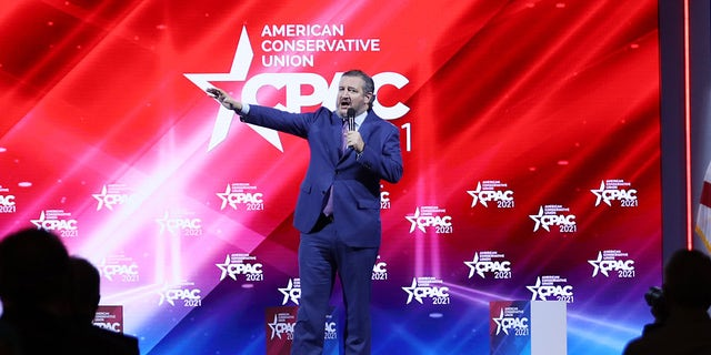 Sen. Ted Cruz addresses the Conservative Political Action Conference held in the Hyatt Regency on Feb. 26, 2021, in Orlando, Fla. Begun in 1974, CPAC brings together conservative organizations, activists and world leaders to discuss issues important to them. (Joe Raedle/Getty Images)