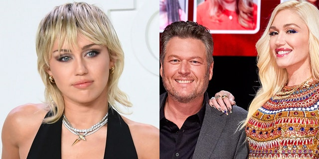 Miley Cyrus, left, offered to play wedding singer at Blake Shelton and Gwen Stefani's upcoming nuptials.
