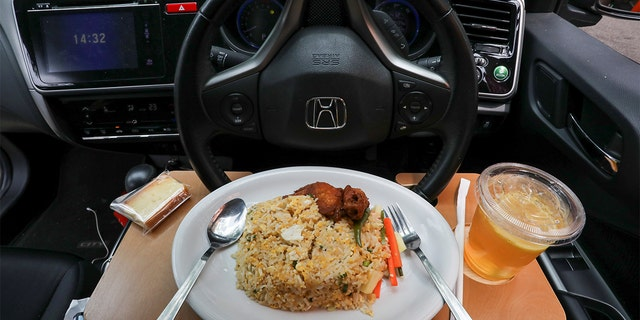 A Padi House dish for 'dine in car' service is pictured. (REUTERS/Lim Huey Teng)