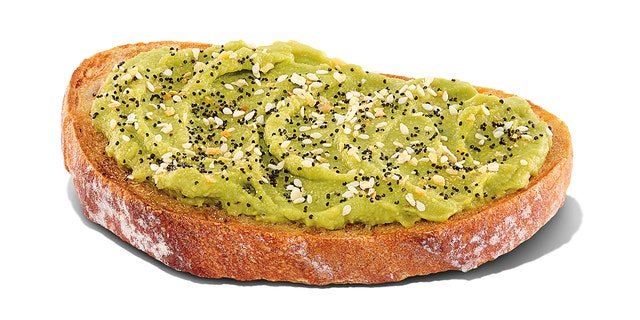 Dunkin's new avocado toast, topped with all the bagel seasoning.