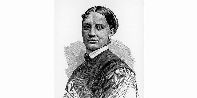 Illustrated portrait of Elizabeth Keckley, a former slave who bought her freedom and became dressmaker for First Lady Mary Todd Lincoln.