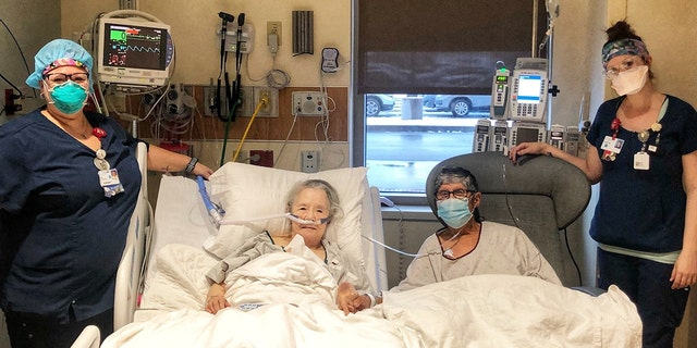 HSHS St. Elizabeth's nurses made a memorable dinner date night for a married couple who are both patients in different areas of the hospital. Pictured left to right, Kim Presson, Terry Martinez, Frank Martinez and Hannah Schlemer.