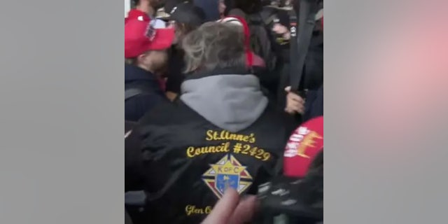 Grillo was seen wearing a Knights of Columbus jacket at the Capitol. (FBI)