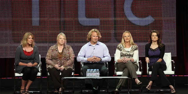TV personalities Meri Brwon, Janelle Brown, Kody Brown, Christine Brown and Robyn Brown speak during the 'Sister Wives' panel during the Discovery Communications portion of the 2010 Summer TCA press tour held at the Beverly Hilton Hotel on August 6, 2010, in Beverly Hills, California.
