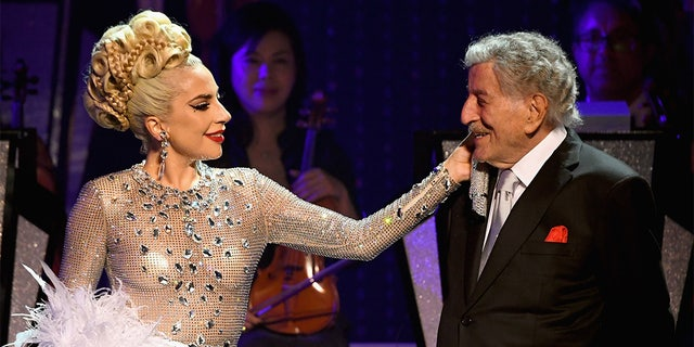Lady Gaga (L) performs with Tony Bennett during her 'JAZZ & PIANO' residency at Park Theater at Park MGM on January 20, 2019 in Las Vegas, Nevada.