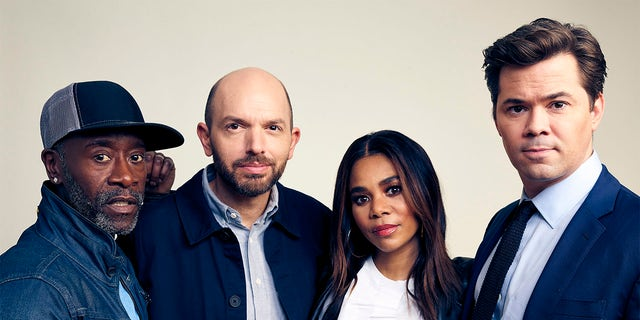 (L-R) Don Cheadle, Paul Scheer, Regina Hall, and Andrew Rannells of Showtime's 'Black Monday' pose for a portrait during the 2019 Winter TCA at The Langham Huntington, Pasadena on January 31, 2019, in Pasadena, California.