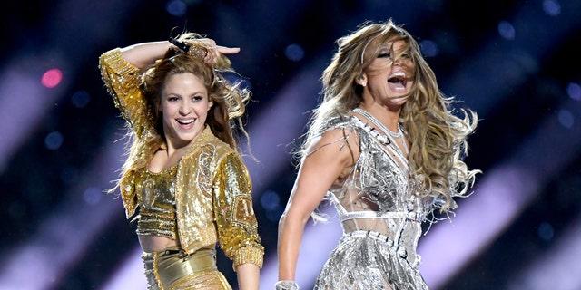 Shakira and Jennifer Lopez perform onstage during the Pepsi Super Bowl LIV Halftime Show at Hard Rock Stadium on February 02, 2020 in Miami, Florida. (Jeff Kravitz/FilmMagic)