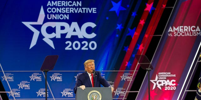 FILE - President Donald Trump speaks during the annual Conservative Political Action Conference (CPAC) at Gaylord National Resort & amp;  Convention Center February 29, 2020 in National Harbor, Maryland.  (Photo by Tasos Katopodis / Getty Images)