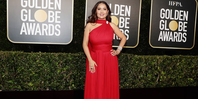 Salma Hayek was on hand to present at the 2021 Golden Globes.
