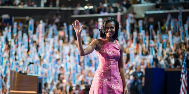 First lady Michelle Obama wore one of Reese's designs during her speech at the 2012 Democratic National Convention  in Charlotte, N.C.