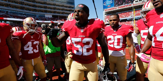 Patrick Willis (No. 52) of the San Francisco 49ers fires the team up prior to the game against the Kansas City Chiefs at Levi Stadium on Oct. 5, 2014, in Santa Clara, Calif. (Michael Zagaris/San Francisco 49ers/Getty Images)