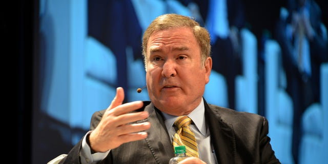 Richard Fain, the chairman and CEO of Royal Caribbean Cruises Ltd., is seen speaking during a panel discussion in Miami in 2015.