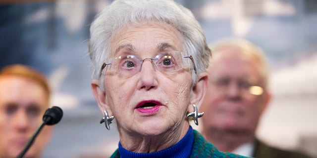 UNITED STATES - MARCH 25: Rep. Virginia Foxx, R-N.C., speaks at a news conference. (Photo By Tom Williams/CQ Roll Call)