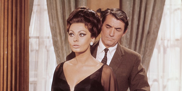 Sophia Loren and Gregory Peck on the set of 'Arabesque.'