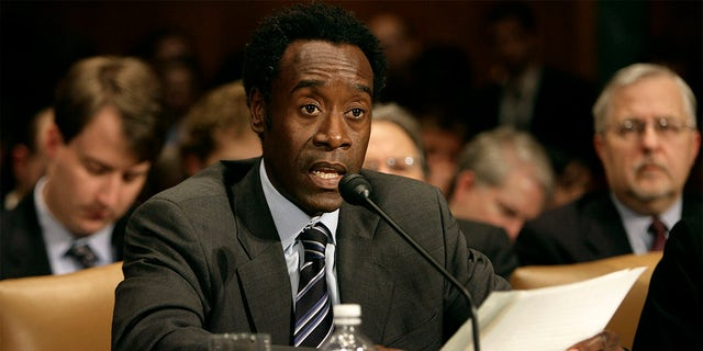 Don Cheadle testifies before the US Senate Judiciary Committee's Human Rights and the Law Subcommittee on February 5, 2007, in Washington, DC. The subcommittee's inaugural hearing was titled 'Genocide and the Rule of Law.'