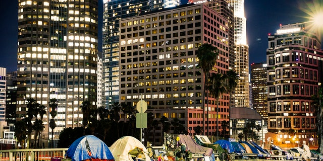 Homeless tents are pictured near the highway in LA Downtown with skyscrapers. (iStock)