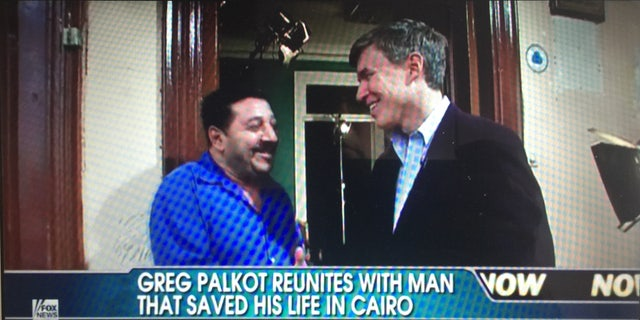 Greg Palkot reuniting with man who gave him shelter.