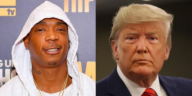 Ja Rule (à esquerda) disse que o ex-presidente Donald Trump (à direita) pode usar seu aplicativo de reservas de celebridades, o Iconn, depois que foi banido do Twitter.