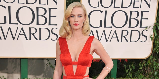 January Jones once again donned a red Versace dress for the Golden Globes that she first wore in 2011. (Photo by George Pimentel/WireImage)
