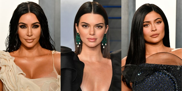 Kim Kardashian (left) teamed up with her younger sisters Kendall Jenner (center) and Kylie Jenner (right) to promote her new lingerie line on Feb. 7.