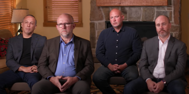 "Mike Madrid, Rick Wilson, Steve Schmidt, and Reed Galen during a ""60 Minutes"" interview about the Lincoln Project last year."