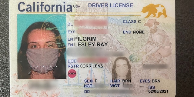 Leslie Pilgrim's new driver license shows her wearing a face mask, which have become the norm during the COVID-19 pandemic. (Leslie Pilgrim)