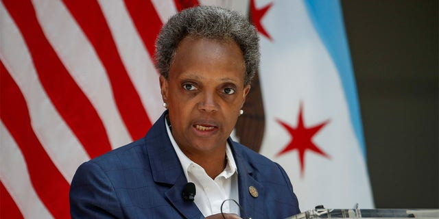Chicago Mayor Lori Lightfoot speaks at the University of Chicago in July 2020. (Reuters)