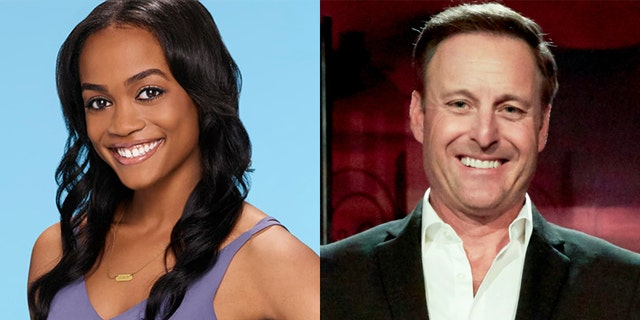 'Bachelor' host Chris Harrison (right) conducted an interview with former 'Bachelorette' Rachel Lindsay (left) that received a great deal of backlash over his comments regarding a contestant who attended an 'Old South' antebellum-themed party at a plantation in 2018.