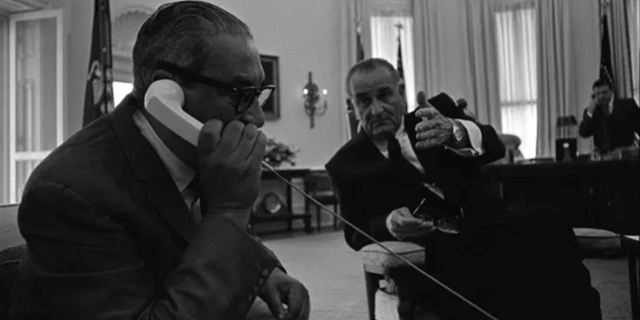 Thurgood Marshall with President Lyndon B. Johnson in the Oval Office