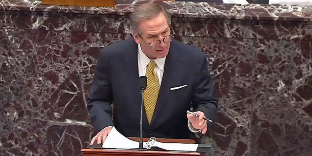 Lawyer Michael T. van der Veen speaks during Trump impeachment trial on Friday, Feb. 12.