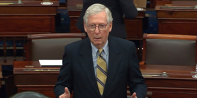 In this image from video, Senate Minority Leader Mitch McConnell of Ky., speaks after the Senate acquitted former President Donald Trump in his second impeachment trial in the Senate at the U.S. Capitol in Washington, Saturday, Feb. 13, 2021. (Senate Television via AP)