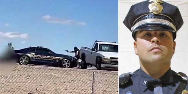 Bystander video shows the police shootout, left, after the pursuit andState Police Trooper Darian Jarrott, right, who was allegeldy killed by Omar Felix Cueva.